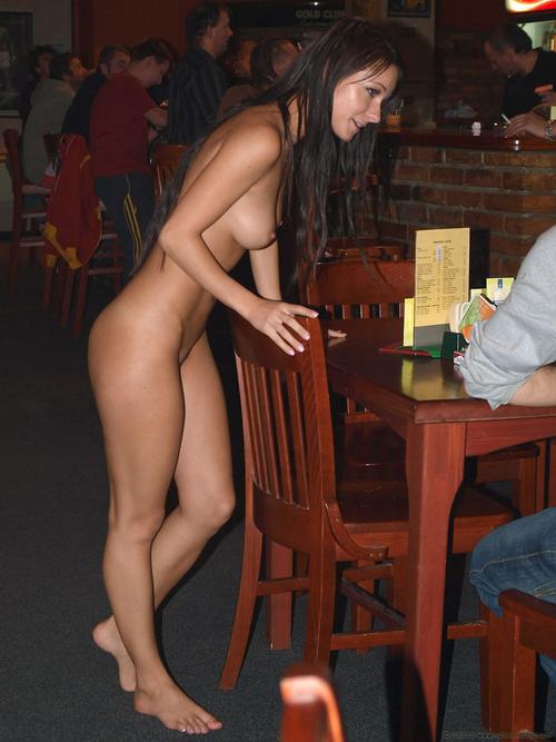 Nude waitress