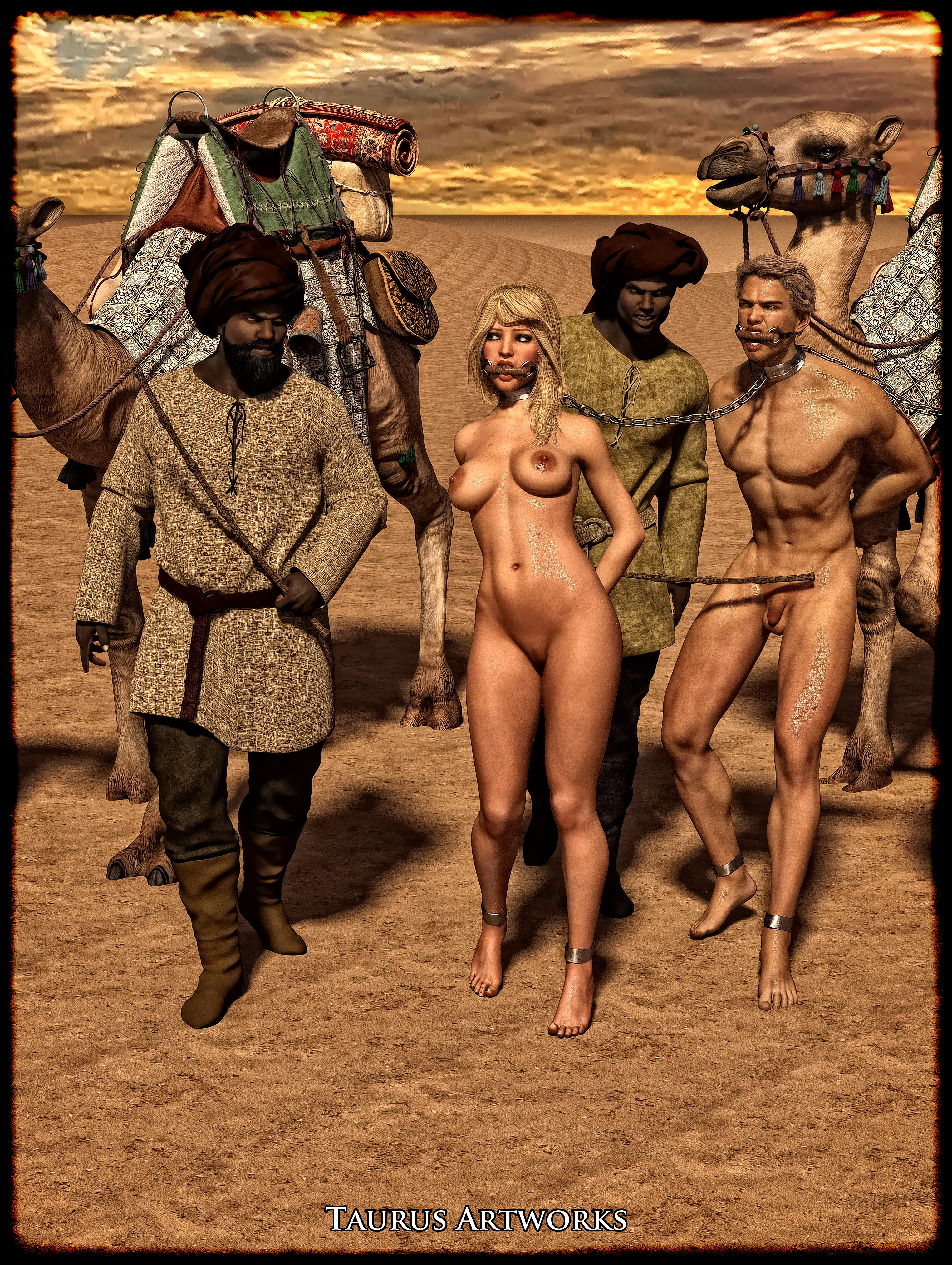 Andy Adler Nude the captives are marched nude and cuffed under the hot